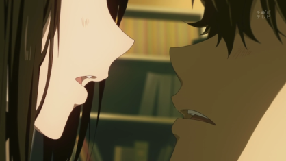 Chitanda and Oreki in an intense moment from Hyouka.