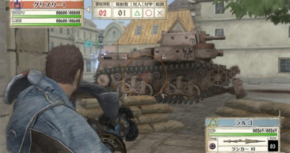 Largo taking out a tank in Valkyria Chronicles.